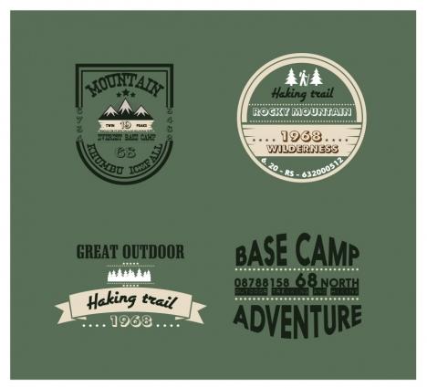 mountain adventures logos collection in vintage design