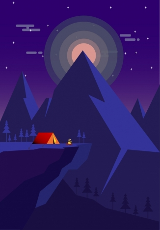 mountain camping drawing dark violet design tent icon