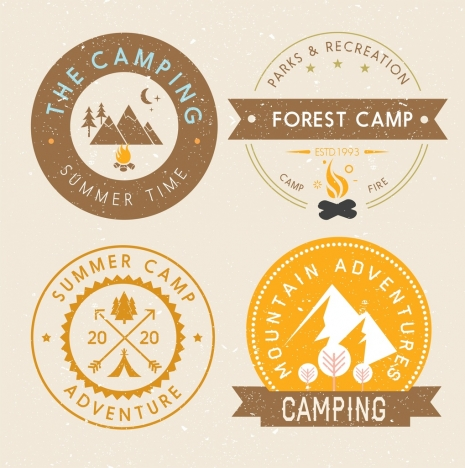 mountain camping logotypes retro round label