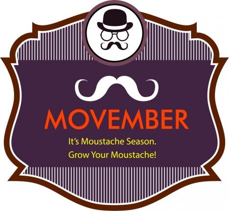 movember mustache season banner classical striped design