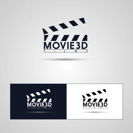 movie logotypes flat symbol black white design