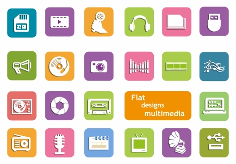 multimedia icons design in flat style
