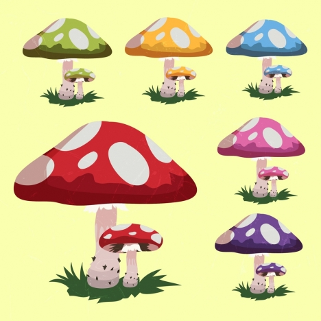 mushroom icons collection multicolored cartoon design