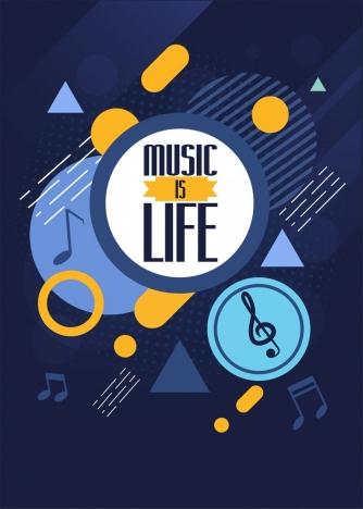 music background notes icons dark blue geometric decor