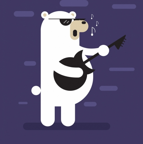 music background stylized bear singer icon flat design