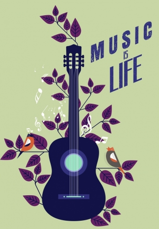 Music Banner Guitar Leaves Birds Icons Flat Design Vectors Stock In Format For Free Download 2 91mb