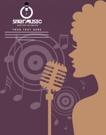 music banner singer and notes brown silhouette design