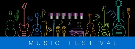 music festival banner instrument icons decor colorful silhouettes