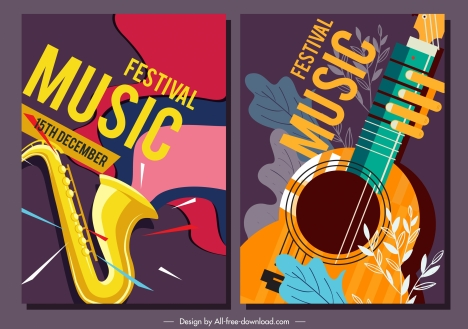 Music festival posters trumpet guitar sketch classical