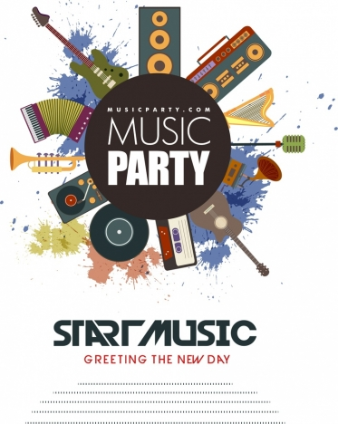 Music Party Flyer Retro Instrument Design Splash Colors Vectors
