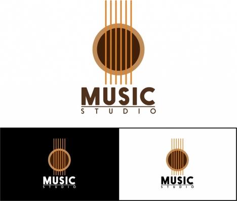 Music Studio Logo Sets Guitar Symbol And Texts Vectors Stock In