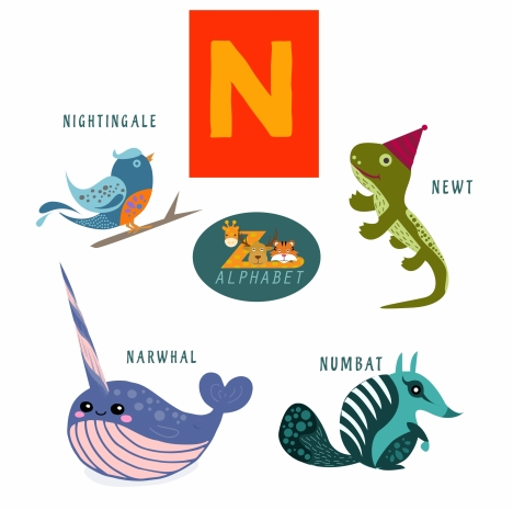 n letter design with colored flat style animals