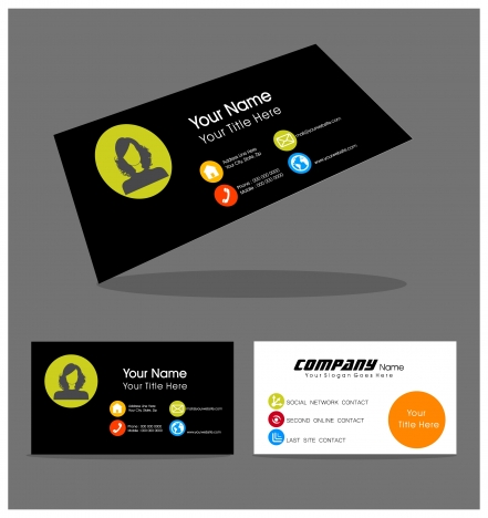 name card design with portrait on contrast background