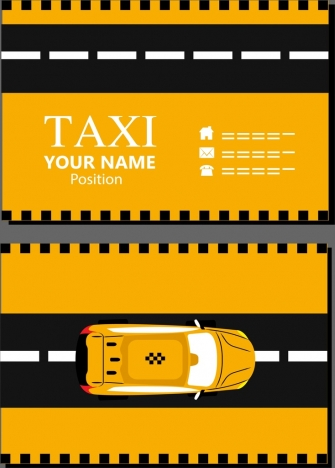 name card template black yellow decor car icon