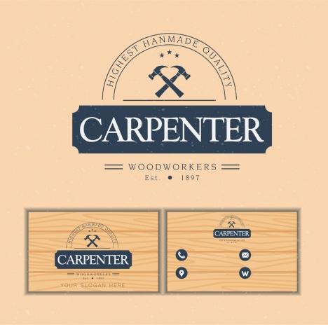 name card template carpenter logotype wooden backdrop