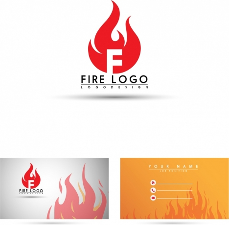 Name Card Template Fire Logo Icon Flame Background