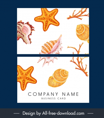 name card template marine elements decor bright colorful