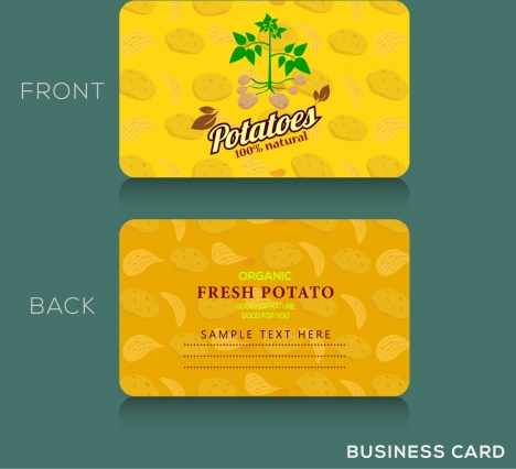 name card template potato icon yellow vignette decor
