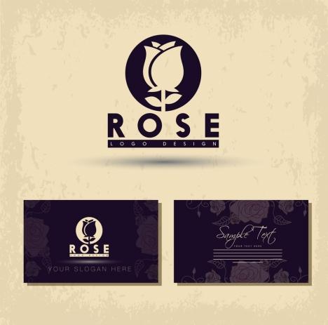 name card template rose icon logo design