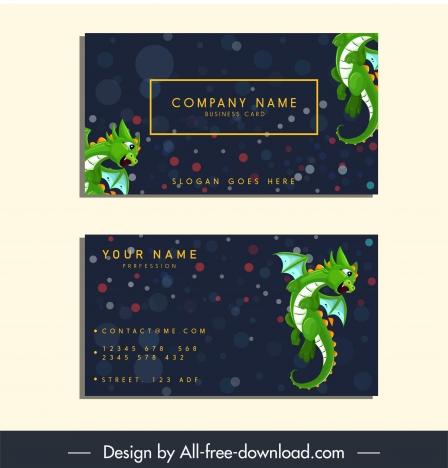 name card template western dragon icon bokeh decor