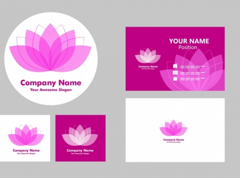 name card templates violet lotus icon decoration