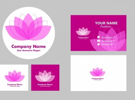 name card templates violet lotus icon decoration