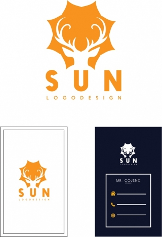 namecard template sun logo design reindeer silhouette decoration
