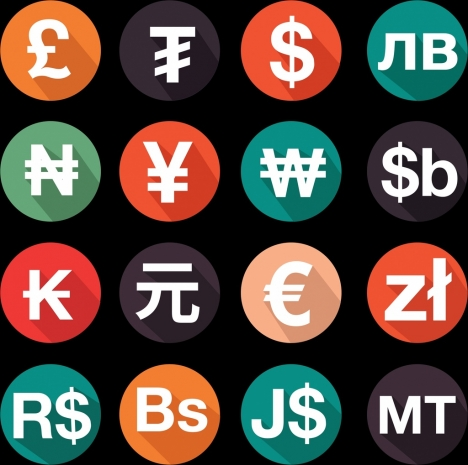 national currency icons isolation colored round design