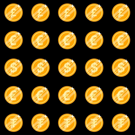 national currency sign templates shiny golden coin design