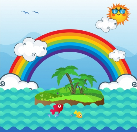 natural landscape background rainbow island sun sea icons