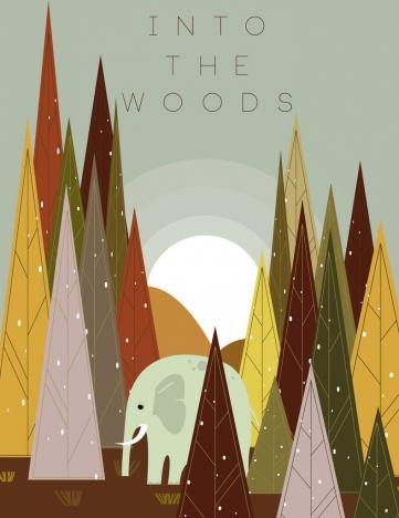 nature backdrop woods elephant icons colored cartoon design
