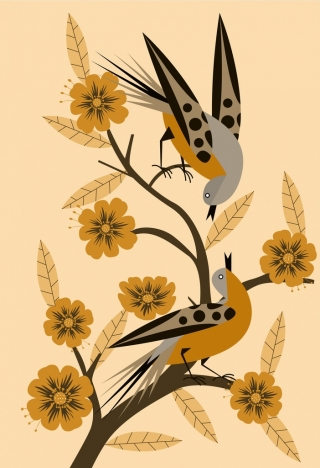 nature background birds flowers decoration classical design