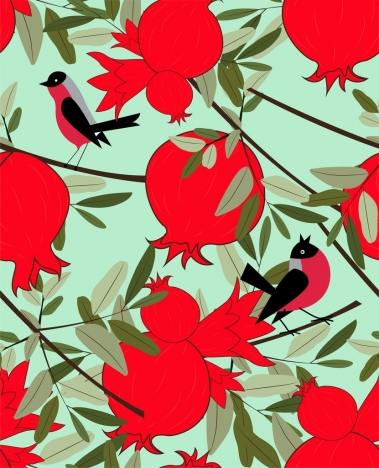 nature background pomegranate bird icons multicolored design