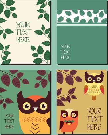 nature background templates leaves owls icons decor