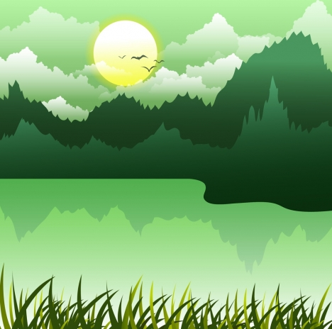 nature landscape background green decor lake forest icons