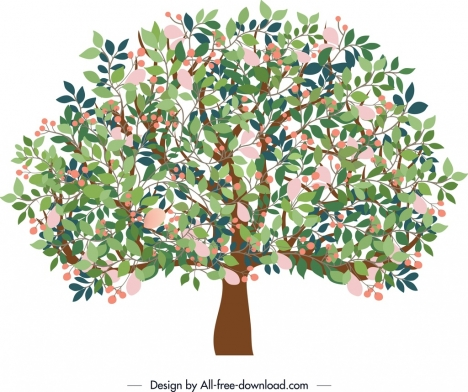 nature painting blooming tree icon classical colorful design