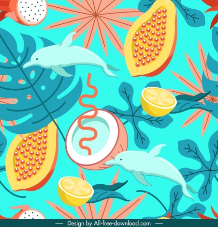 nature pattern colorful coconut papaya dolphin leaves decor