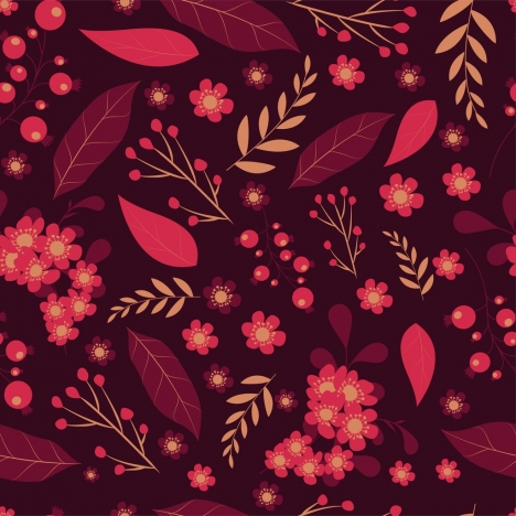 nature pattern leaves flowers icons flat dark design