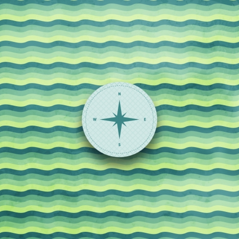 navigator compass on wave background
