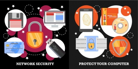 network security concepts illustration with digital symbols
