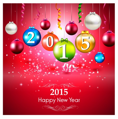 New Year 2015 greeting card with colorful baubles on red background