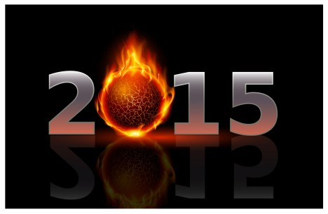 New Year 2015: metal numerals with fire ball