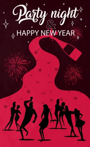 new year party banner people silhouette dark decor