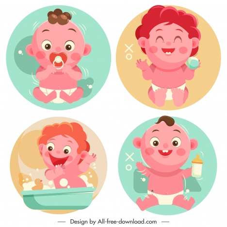 newborn baby icons lovely cartoon characters sketch