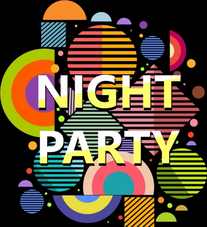 night party banner colorful flat geometric decor