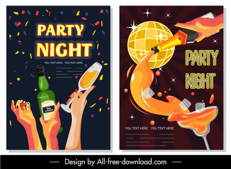 night party posters colorful eventful dynamic design