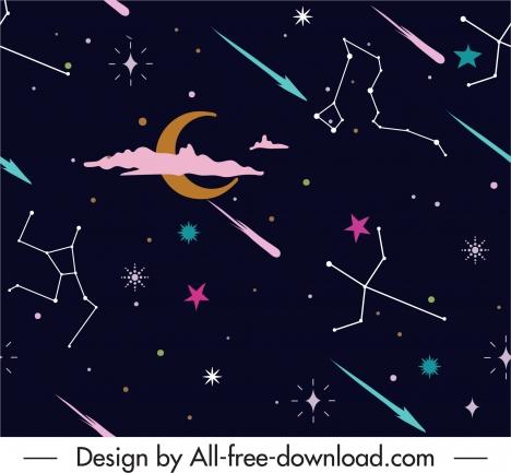night sky pattern constellation crescent stars decor