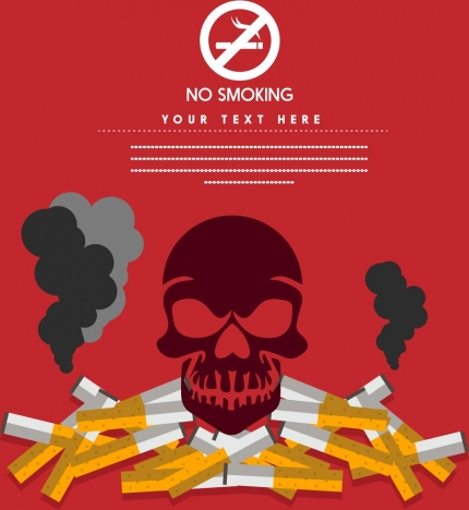 No Smoking Banner Skull Silhouette Cigarette Stack Icon Vectors Stock In Format For Free Download 1 92mb