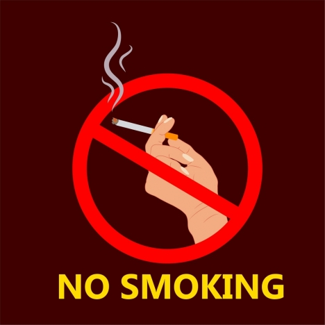 No Smoking Poster Hand Holding Cigarette Sign Icon Vectors Stock In Format For Free Download 900 84kb