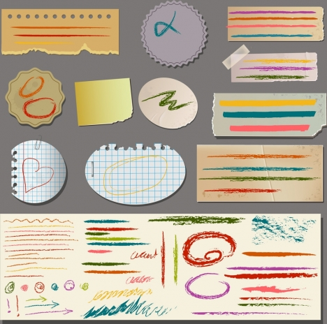 note paper sets grungy scribble ornament